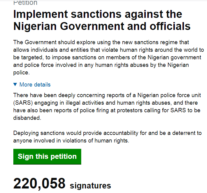 #EndSARS protest: UK Parliament fixes date to debate sanctions against Nigerian government