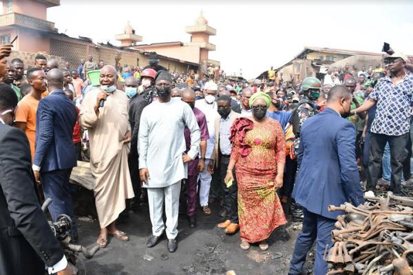 PHOTOS: Makinde visits burnt Ibadan auto parts market