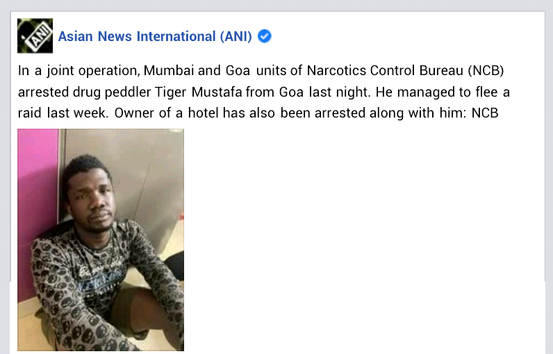 """Suspected Nigerian drug kingpin """"Tiger Mustafa"""" arrested in India after two days on the run"""